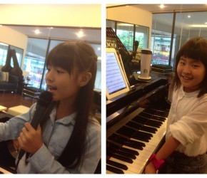 Fern and Nhoon enjoying singing class.