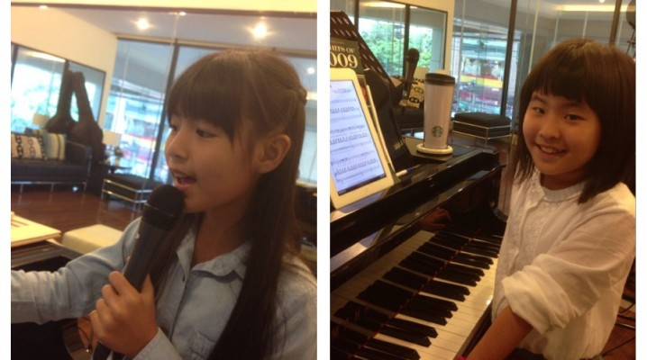 Fern and Nhoon enjoying singing class.